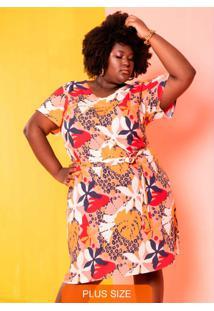 Vestido Tropicália Animal Print Plus Size Bege