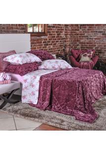 Kit Edredom Slim Peles Com 2 Porta Travesseiros Casal Rose Leaf