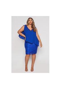 Vestido Almaria Plus Size Pianeta De Renda Com Bordado Manual Azul