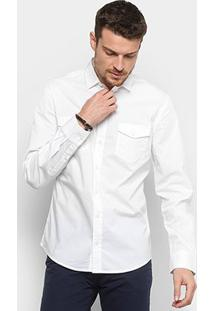 Camisa Colcci Slim Manga Longa 2 Bolsos Masculina - Masculino-Branco
