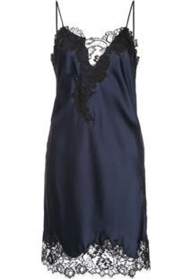 Oscar De La Renta Slip Dress Com Detalhe De Renda - Azul