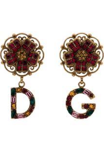 Dolce & Gabbana Par De Brincos Com Pingente De Flor - Dourado