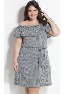 Vestido Ciganinha Listrado Com Faixa Plus Size