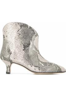 Paris Texas Ankle Boot Com Efeito Pele De Cobra - Prateado
