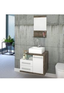 Gabinete Para Banheiro 1 Porta 2 Gavetas 1 Cuba Q35 E Espelheira Legno 651W Siena Móveis Branco/Carvalho Dark