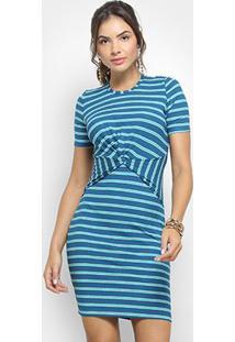 0ccd8dfe0 R$ 90,99. Zattini Vestido Colcci Tubinho Curto Canelado Listrado - Feminino-Azul  Escuro