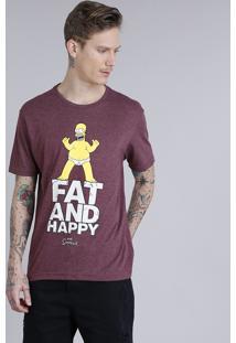 Camiseta Masculina Homer Simpson Manga Curta Gola Careca Vinho