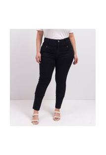 Calça Jeans Skinny Super Alta Curve & Plus Size | Ashua Curve E Plus Size | Preto | 48