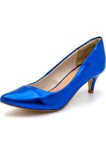 Sapato Scarpin Salto Baixo Fino Em Metalizado Azul Bic - Kanui