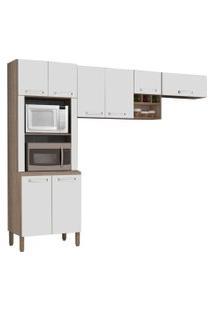 Cozinha Compacta Ametista 8 Portas Composiçáo 3 Nogal/Branco - Kit'S Paraná