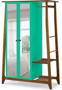 Guarda-Roupa Solteiro Stoka Com Espelho 2 Pt Nogal E Verde Anis