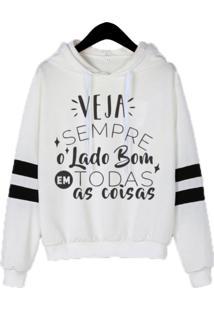 Blusa Moletom Feminino Iza Tonelli Tumblr Flanelado Branco