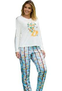Pijama Feminino Victory Inverno Frio Longo Malha Fria - Feminino-Branco