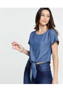 Blusa Jeans Amarração Manga Curta Marisa Feminina - Feminino-Azul