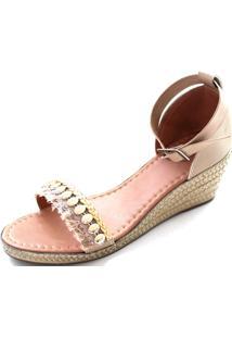 Sandália Anabela Sapatotop Shoes Nude