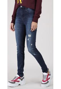 Calça Jeans Feminina Sawary Super Skinny Cintura Super Alta Com Rasgos Azul Escuro