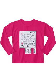 "Blusa ""Good Luck"" - Pink & Cinza Claro - Marisolmarisol"