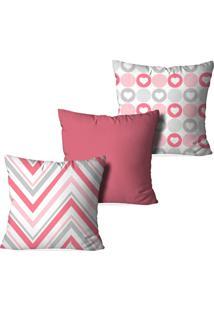 Kit 3 Capas Love Decor Para Almofadas Decorativas Diva Multicolorido Rosa - Kanui