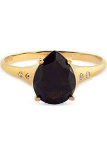 Anel Ouro Amarelo Quartzo Negro E Diamante