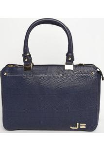 Bolsa Retangular Em Couro - Azul Marinho - 27X37X10Cjorge Bischoff