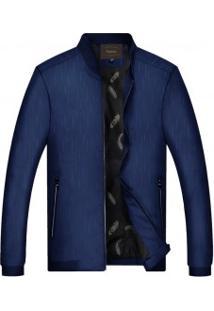 Jaqueta Bomber Masculina Slim Lisa Com Zíper Design Estampado - Azul Escuro