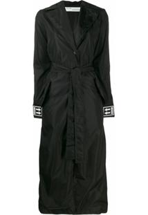Off-White Trench Coat Com Cinto E Logo - Preto
