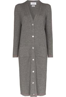 Thom Browne V-Neck Merino Wool Cardigan Dress - Cinza