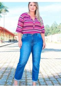 Calça Skinny Almaria Plus Size Fact Jeans Azul