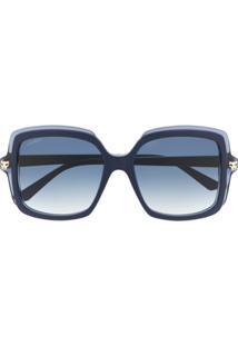Cartier Óculos De Sol Quadrado Oversized Pantheré - Azul