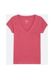 Blusa Básica Decote V Com Bolso Frontal | Blue Steel | Rosa | Pp