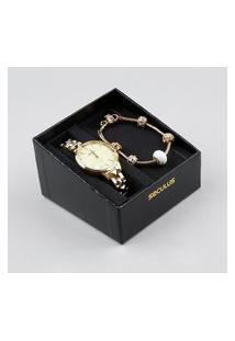 Kit De Relógio Analógico Seculus Feminino + Pulseira - 77029Lpsvds1K Dourado