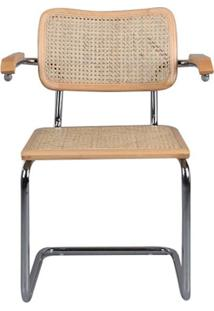 Cadeira Cesca Palha Natural Com Braco Madeira Clara Cromada - 59426 - Sun House