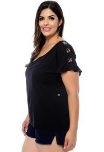 Blusa Forma Rara Plus Size Botões Viscose Preta