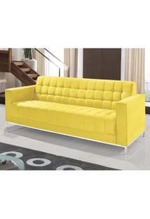 Sofá 4 Lugares Em Veludo Liso Classic 220Cm Império Estofados Amarelo
