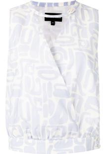 Emporio Armani Blusa Com Estampa E Transpasse - Azul