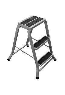Escada Banqueta Banquinho Banco Dobravel De Aluminio Grande 3 Degraus 120Kg