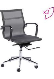 Or Design Jogo De Cadeiras Office Eames Tela Cinza & Prateado 2Pã§S