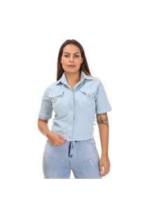 Jaqueta Sarja Feminina Azul - 265774 - Azul Claro - Sawary