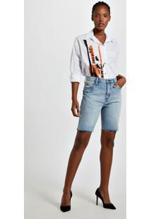 Bermuda Jeans Com Cerzidos Jeans