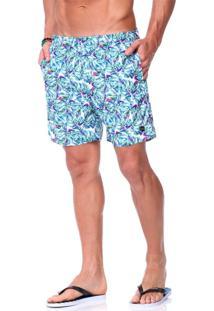Short Praia King&Joe Floral Azul