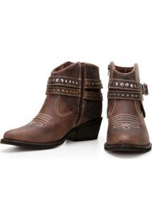 Bota Capelli Boots Country Texana De Couro Feminina Café