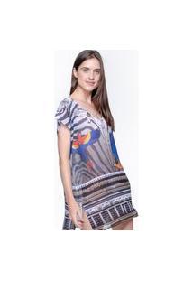 Blusa 101 Resort Wear Saida Crepe Estampado Araras Bege