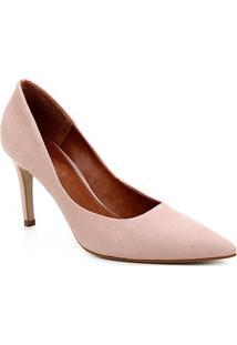 Scarpin Couro Shoestock Salto Alto Graciela Nobuck - Feminino-Nude