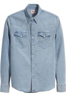 Camisa Jeans Levis Masculina Classic Western Azul Clara Azul