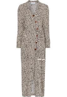 Nanushka Capri Zebra Print Wrap Dress - Preto