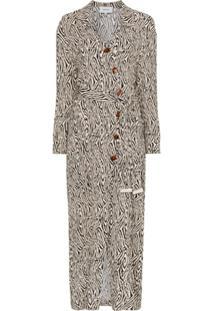 Nanushka Vestido Envelope Com Estampa De Zebra - Preto