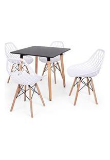 Conjunto Mesa Eiffel Preta 80X80 + 4 Cadeiras Vision - Branco