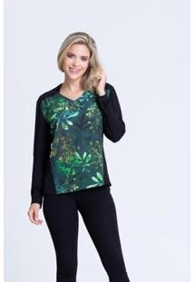 Camisa Clara Arruda Bicolor 12047 - Feminino-Verde