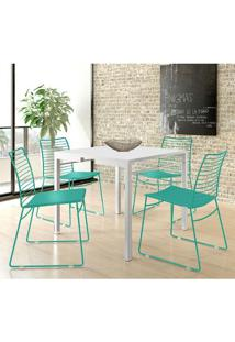 Mesa 1525 Branca Com 4 Cadeiras 1712 Color Uv Turquesa Carraro