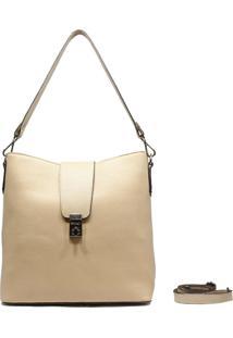 Bolsa De Couro Recuo Fashion Bag Tiracolo Marfim/Off